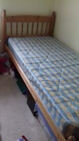 Single Pine Bed Frame and Mattress
