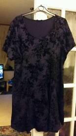Purple flocked velvet dress