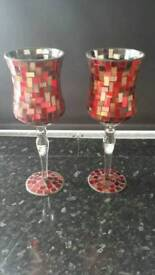 Pair of mosaic glass orniments