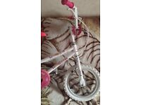 14 inch girls white pink bycicle bike