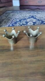 Pair brass tealight holders