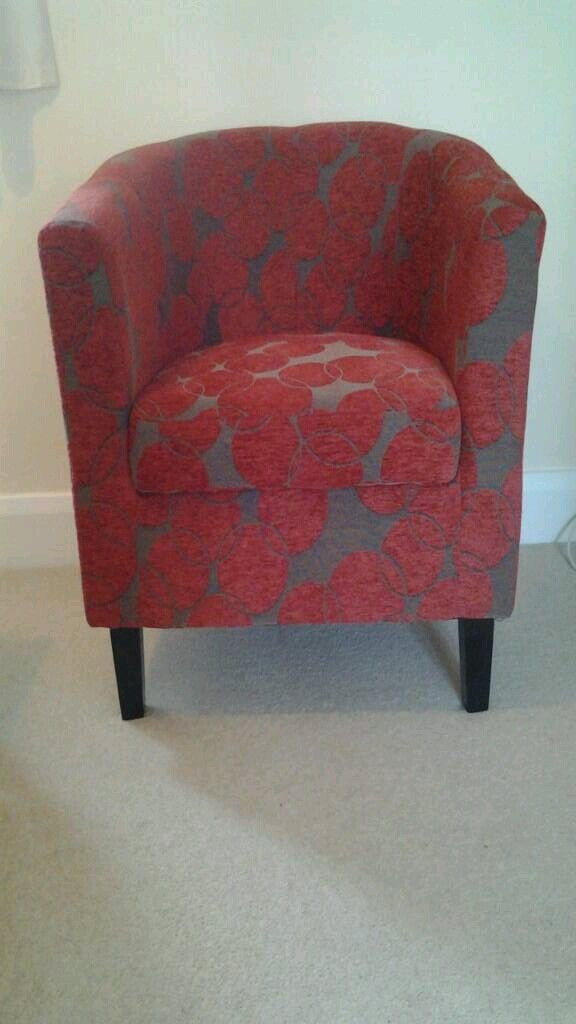 Red and grey bucket chair