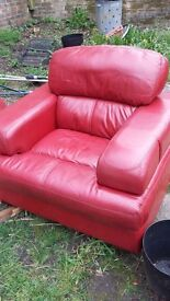 Red Leather Armchair - Good Condition - Free matching sofa available (but in poor condition)