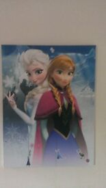TWO LARGE FROZEN CANVAS WALL ART PICTURES ANNA/ELSA,OLAF/SVEN CHILDS BEDROOM ONLY £5 EACH !