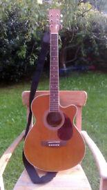Hudson HF-1DX Superfolk Electro-Acoustic Guitar