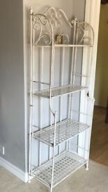 Antique style ornate metal shelves