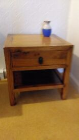 coffee/lamp square pine table with a drawer and shelf