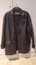 Chevignon leather jacket black large size real good condition