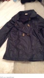 Navy lined Zara coat /Mac , age 5-6 years , ex cond