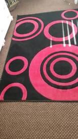 Red black rug