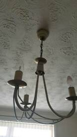 2 x Ceiling lights and curtain pole