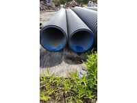 Twinwall perforated Drain Pipe for Surface Water Drainage 600mm x 6m. Polypipe