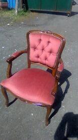 Beautiful reproduction vintage button back boudoir chair