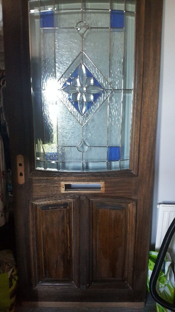 Beautiful Brand New Wooden Front Door With Stained Glass Window For