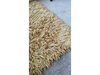 Mustard yellow woolen, high pile rug 165cm x 230cm