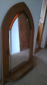 Pine wood Framed Mirror with stained glass inlay