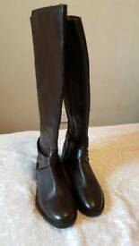 Genuine brown leather knee high boots