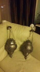 Pair of brand new gorgeous moroccan ceiling lights. 30 pounds for quick sale