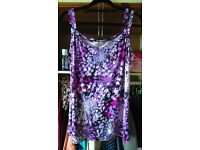 A purple floral stretch top