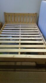 Wooden double bed with mattress, bed is only 6 months old and mattress used but very good condition