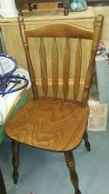 Pair of varnised wooden cottage dining Chairs.
