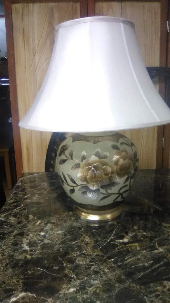 Pair of gold floral lamps