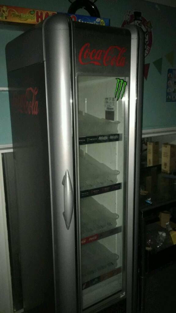 Retro, slimline, motion sensored coca cola tall fridge