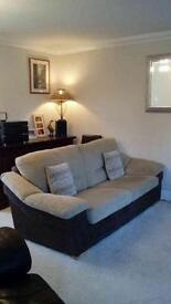 Sofa Cream and Brown Suede effect, 3 seater