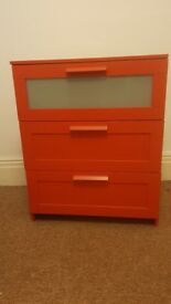Ikea Red Chest of Drawers - Brimnes