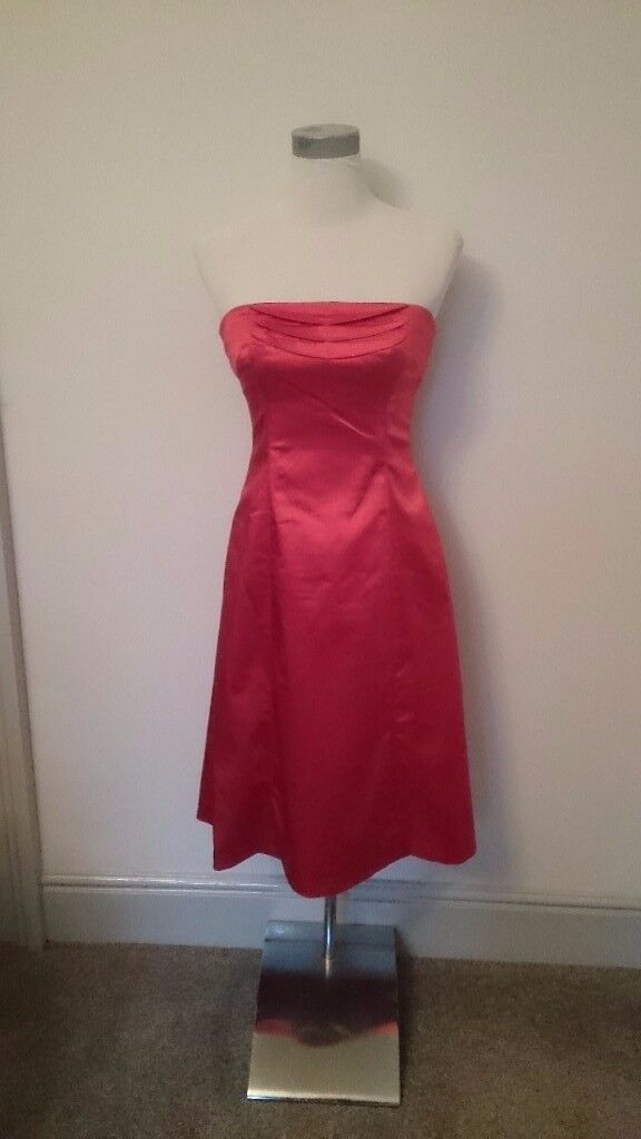 REDUCED* Coast bridesmaid/prom satin dress, red, size 10, only worn once