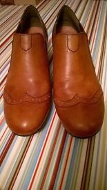 Ladies Brogue style brown leather Rieker shoes size 39