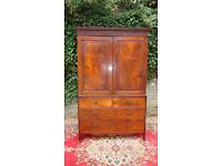 GENUINE ANTIQUE GEORGIAN CUBAN FLAME MAHOGANY LINEN PRESS/WARDROBE ARMOIRE V.G.ANTIQUE CONDITION