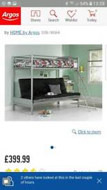 Metal Bunk bed with Futon and Mattress