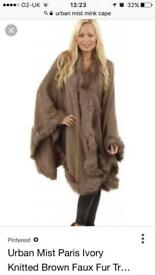 NEW Urban mist mink coloured cape one size