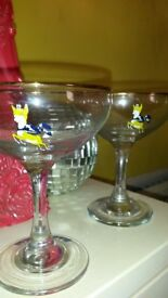 Pair of original Babycham glasses/flutes