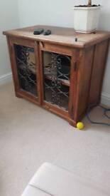 Soild wood side unit / tv unit with wrought iron inlay
