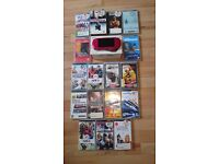 Sony PSP 3003, radiant red, pristine condition, boxed with 11 games and 7 umds.