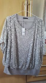 Lovely Lacey light grey top new with tags size 24
