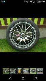 """New 17"""" multi fit 5 stud alloy wheels and tyres, vw , seat, mercedes, skoda, audi"""