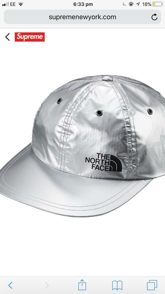 Supreme x The North Face Metallic 6-Panel Silver Hat Cap  cd50ee5587b