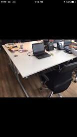 WHITE OFFICE DESKS X10