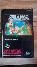 Super Nintendo joe and mac booklet