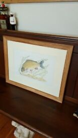 antique oak framed angling painting
