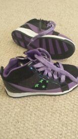 Purple and black glittery trainers size 2
