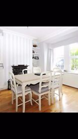 Shabby chic dining table and 6 matching chairs
