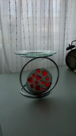 HEARTS GLASS AND CHROME OIL BURNER / CANDLE HOLDER / TEA LIGHT HOLDER