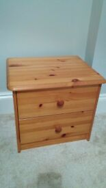 Bedside table, pine wood, 2 x drawers, good condition - Peckham, East Dulwich, Nunhead