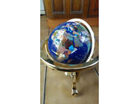 World Globe with Compass and Brass Stand