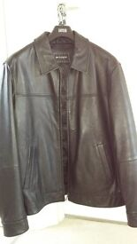 Men's Leather Jacket - Large - Marks & Spencer