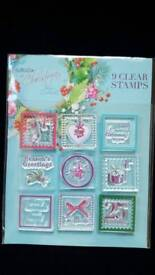 PAPERMANIA AT CHRISTMAS 9 x CLEAR RUBBER STAMPS